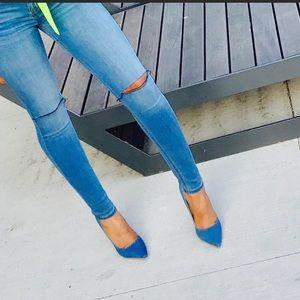 Denim Closed toe heels.